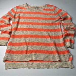 Pink Rose Striped Loose Knit Lightweight Sweater